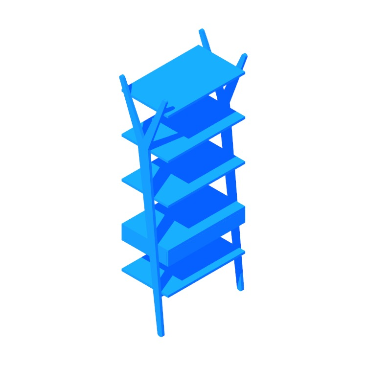 Perspective view of a 3D model of the Lignum Shelving Unit