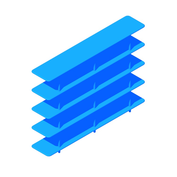 Perspective view of a 3D model of the Aero Shelving (High)