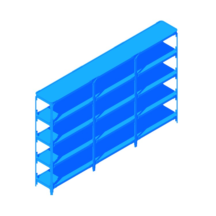 3D model of the Steelwood Shelving System viewed in perspective