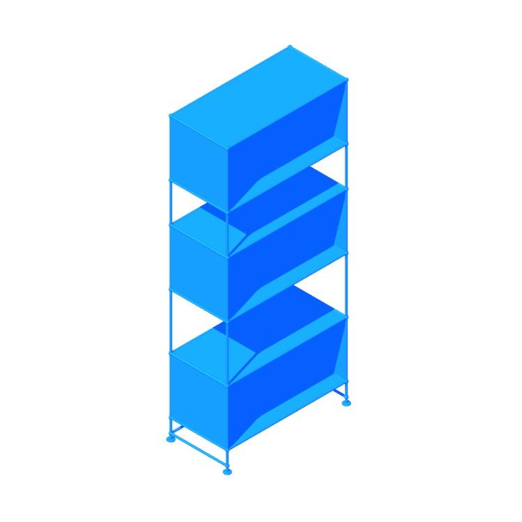3D model of the USM Haller Bookshelf viewed in perspective