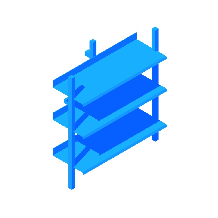 View of the Browser Bookcase (Low) in 3D available for download