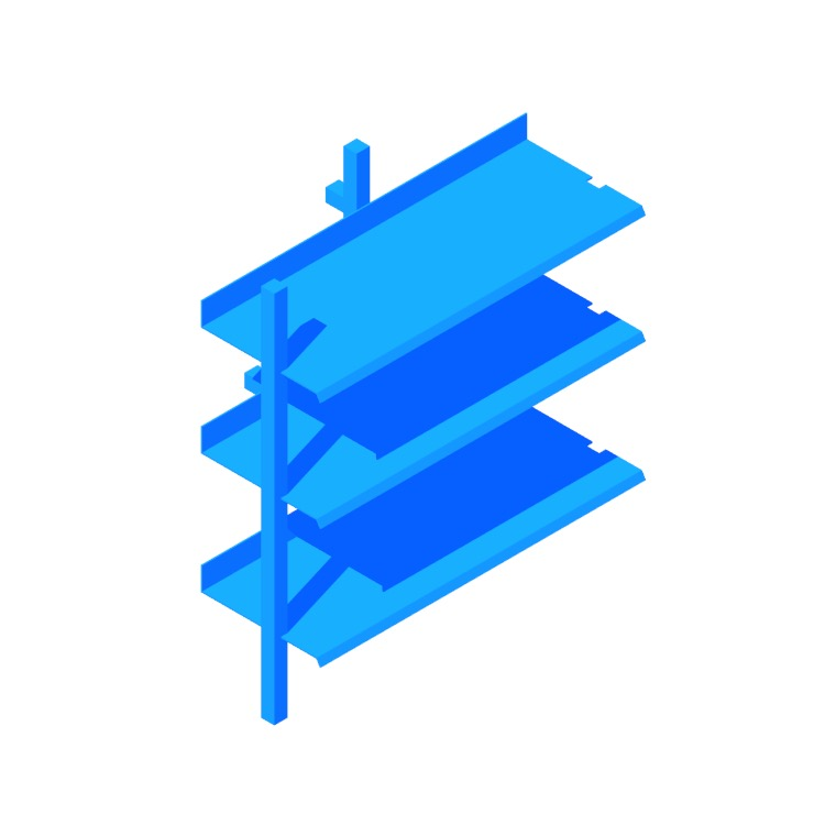 Perspective view of a 3D model of the Browser Bookcase (Low Add-on)