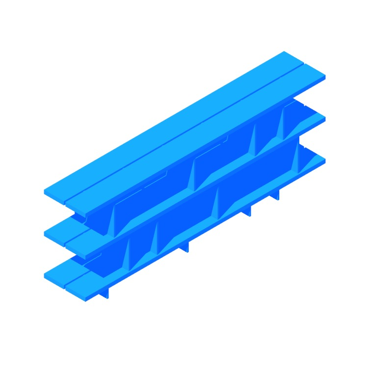 3D model of the Happy Day Shelving (3 Shelf) viewed in perspective