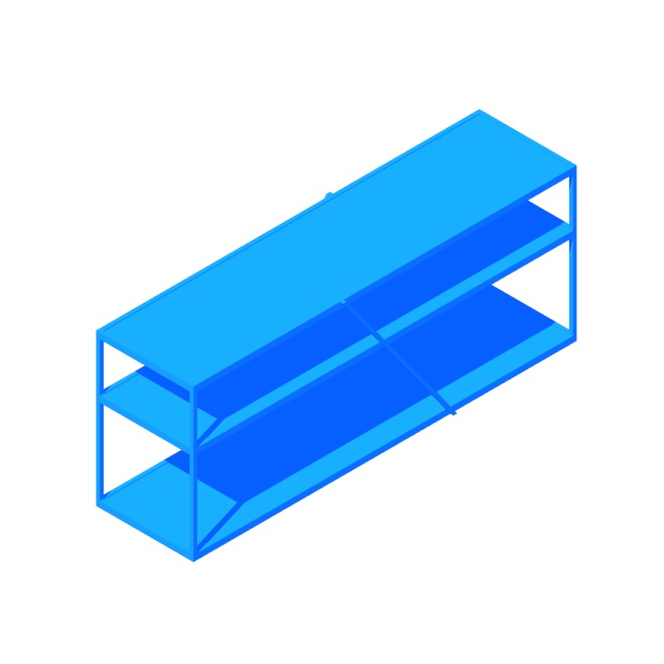 Perspective view of a 3D model of the NeedWant Shelving (Low)
