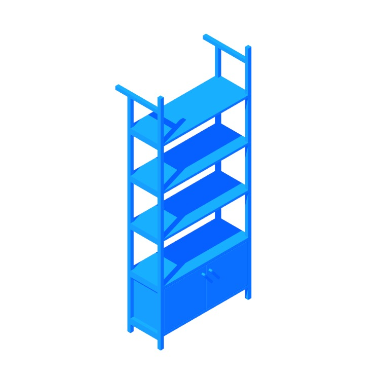 3D model of the Bevan Bookshelf (Cabinet) viewed in perspective