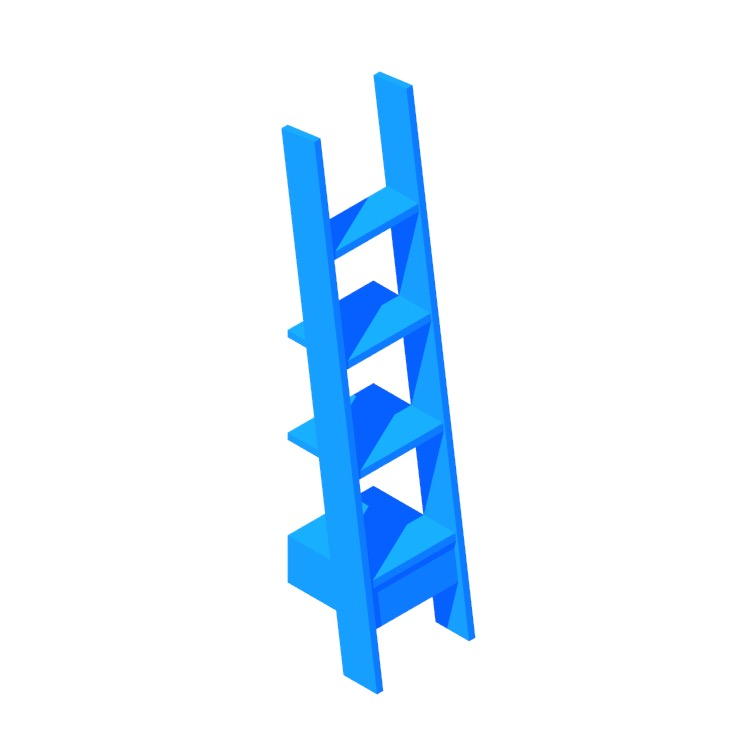 3D model of the Ladder Bookcase 217 (Medium) viewed in perspective
