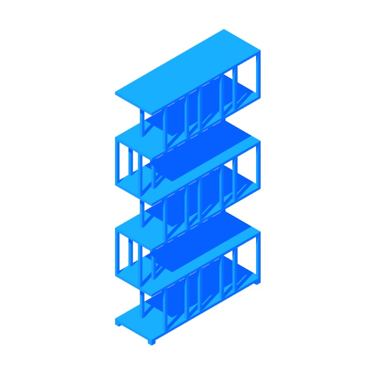 3D model of the Reedy Bookcase 247 viewed in perspective