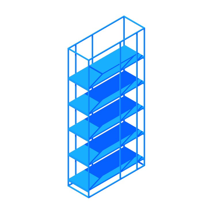 3D model of the Caged Bookcase viewed in perspective