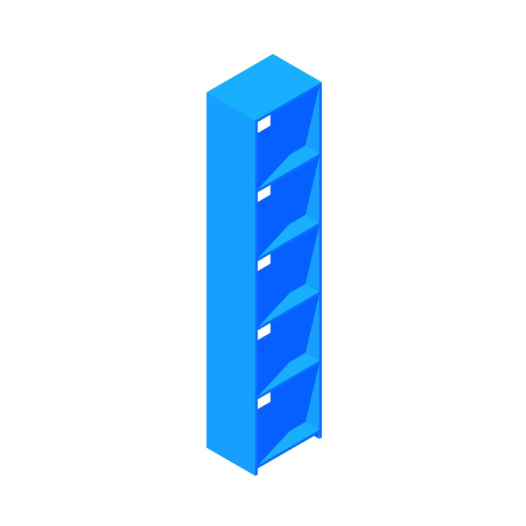 3D model of the Getaway Bookcase (Narrow) viewed in perspective