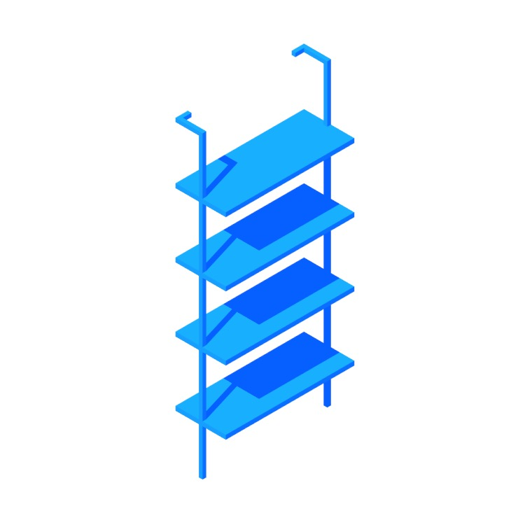 """Perspective view of a 3D model of the Helix Bookcase (70"""")"""