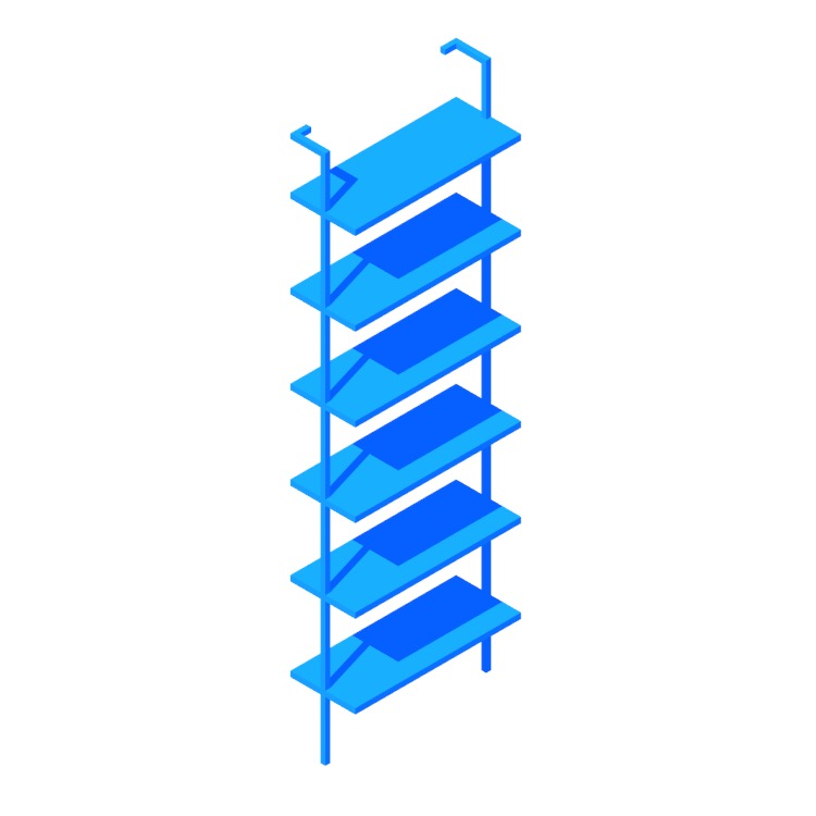 """View of the Helix Bookcase (96"""") in 3D available for download"""