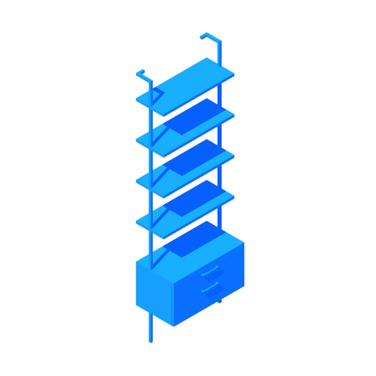 """Perspective view of a 3D model of the Helix Bookcase (96"""" - Drawers)"""