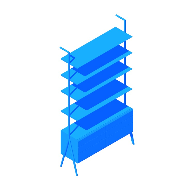 3D model of the Jaxon Bookcase viewed in perspective