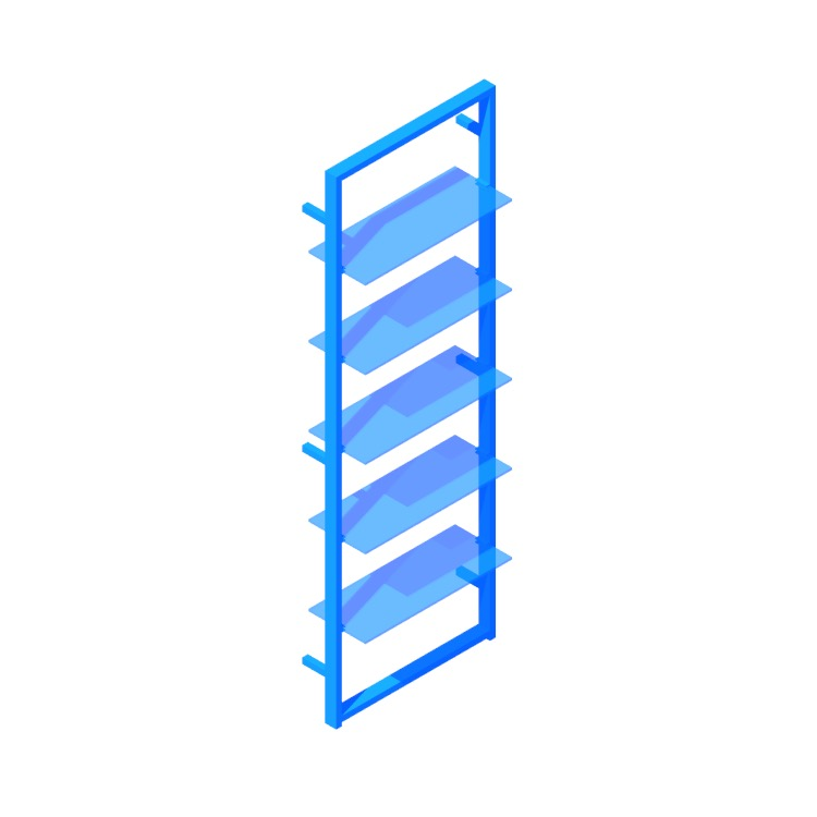 Perspective view of a 3D model of the Tesso Bookcase