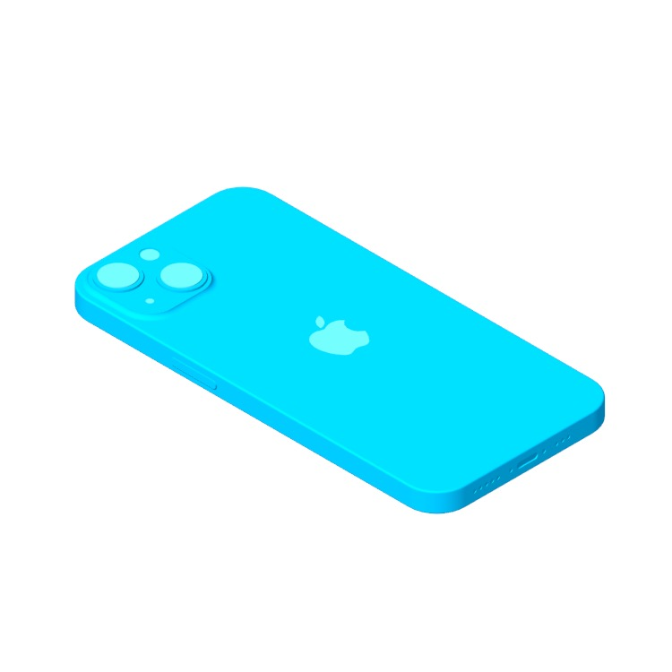3D model of the Apple iPhone 13 (15th Gen) viewed in perspective