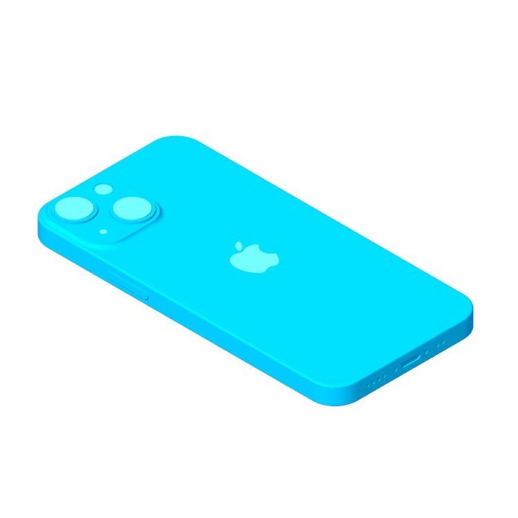 Perspective view of a 3D model of the Apple iPhone 13 Mini (15th Gen)