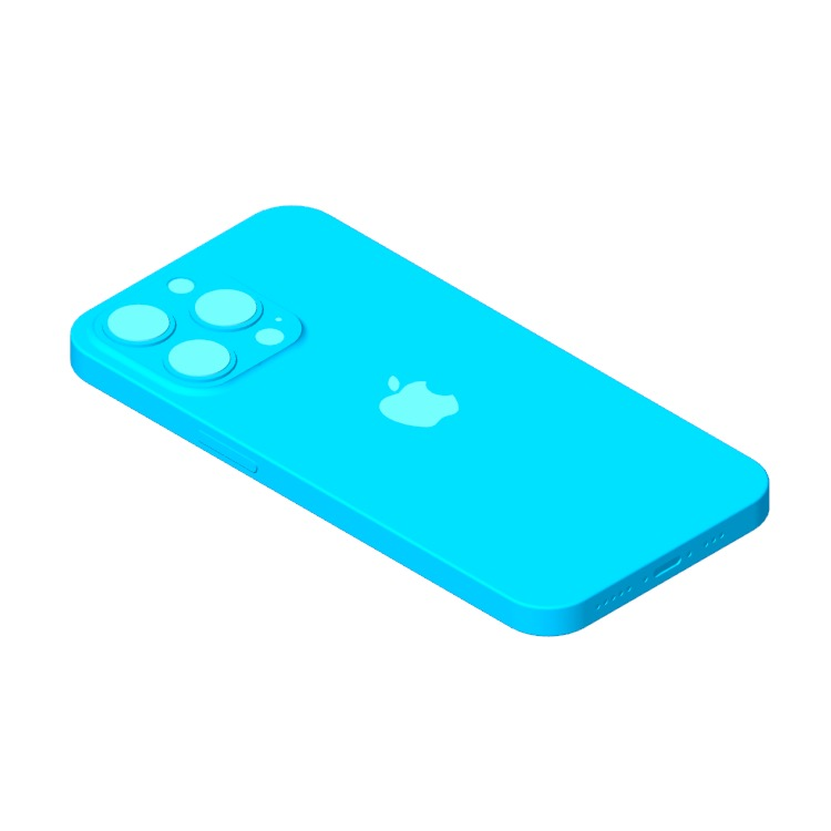 View of the Apple iPhone 13 Pro (15th Gen) in 3D available for download