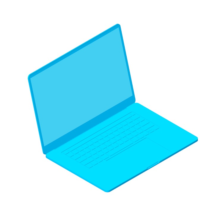 3D model of the Apple MacBook Pro 16 inch (2019) viewed in perspective