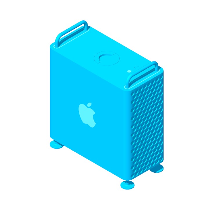 3D model of the Apple Mac Pro (2019) viewed in perspective