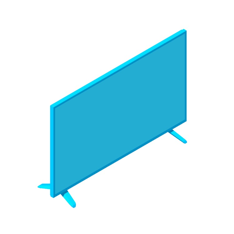 """3D model of the Vizio 32"""" D-Series TV viewed in perspective"""
