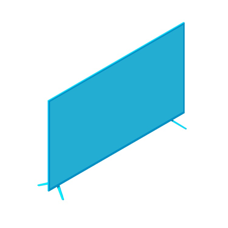 """Perspective view of a 3D model of the Vizio 55"""" M-Series TV"""