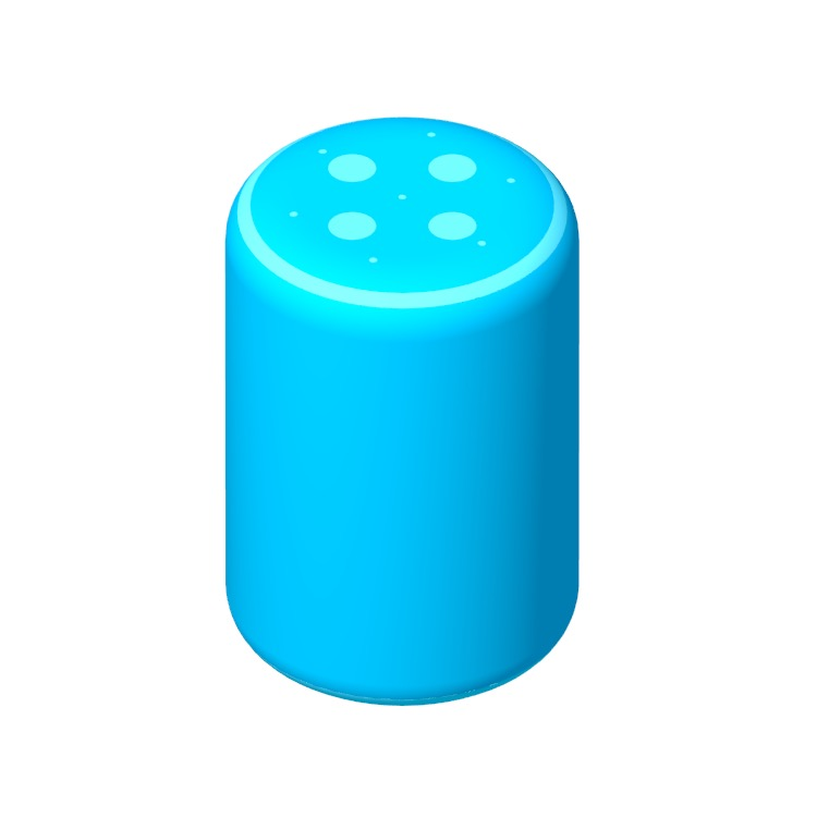 Perspective view of a 3D model of the Amazon Echo (3rd Gen)