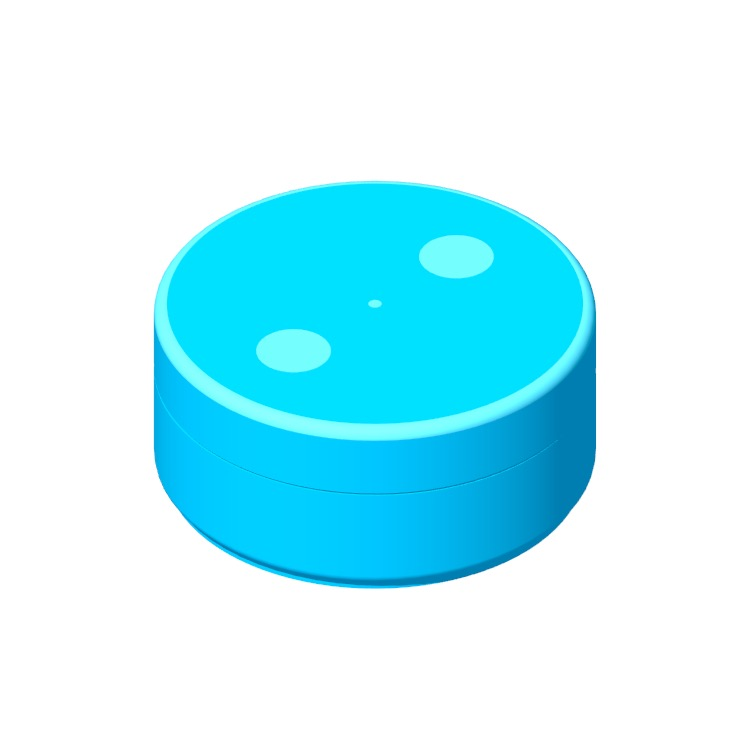View of the Amazon Echo Dot (1st Gen) in 3D available for download
