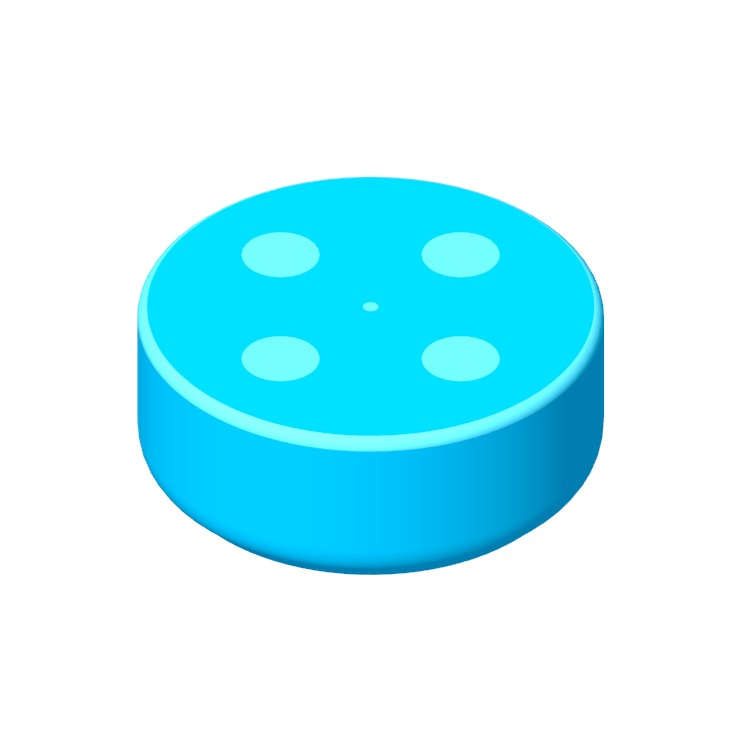 3D model of the Amazon Echo Dot (2nd Gen) viewed in perspective