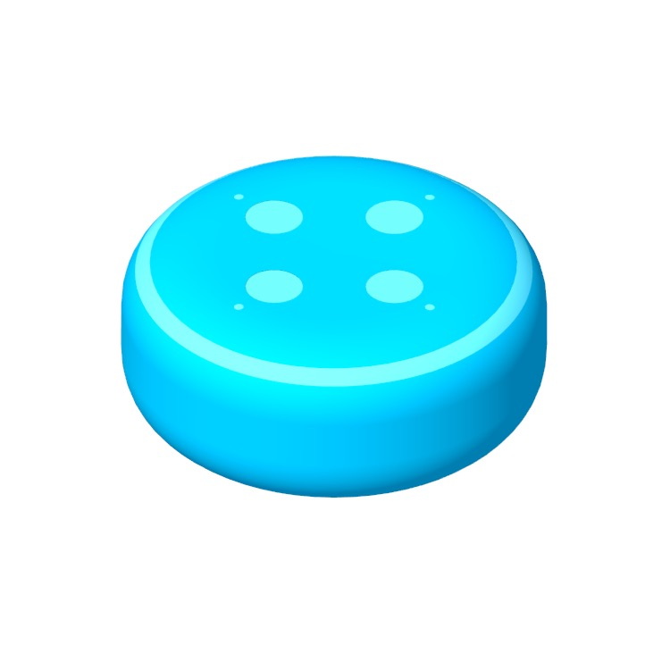Perspective view of a 3D model of the Amazon Echo Dot (3rd Gen)