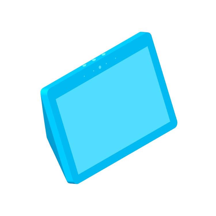 Perspective view of a 3D model of the Amazon Echo Show (2nd Gen)