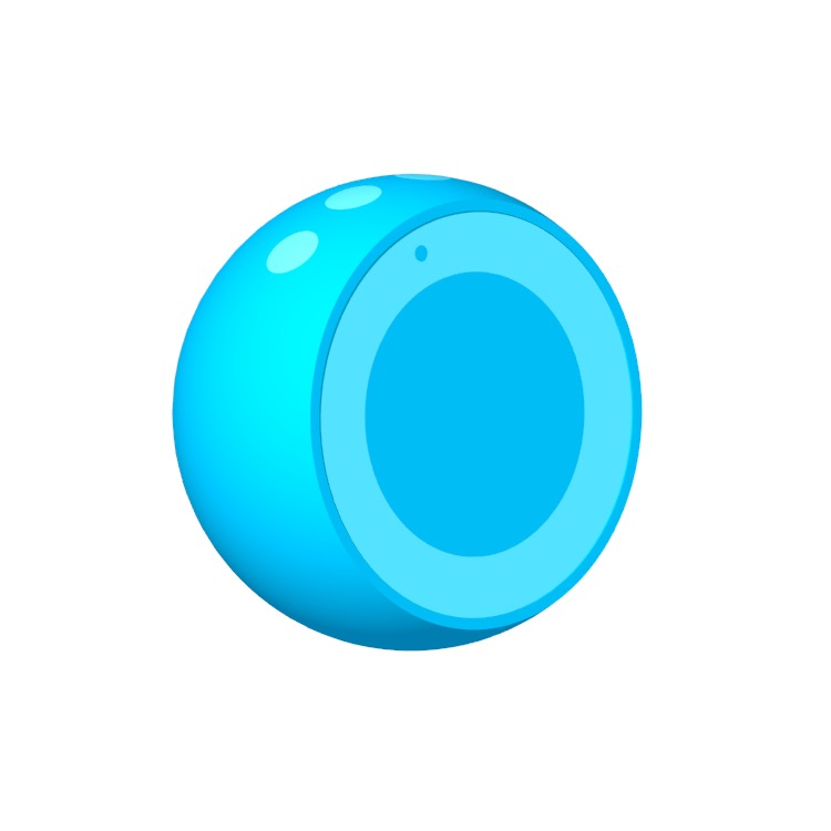 Perspective view of a 3D model of the Amazon Echo Spot