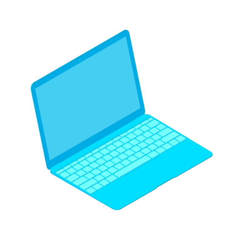 Perspective view of a 3D model of the Apple MacBook (3rd Gen)