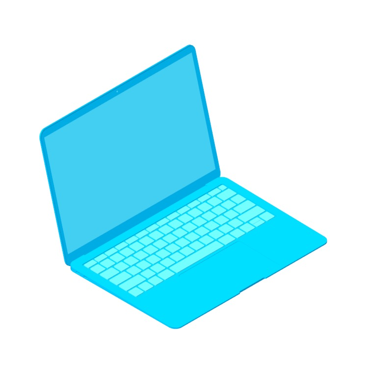 View of the Apple MacBook Air (3rd Gen) in 3D available for download