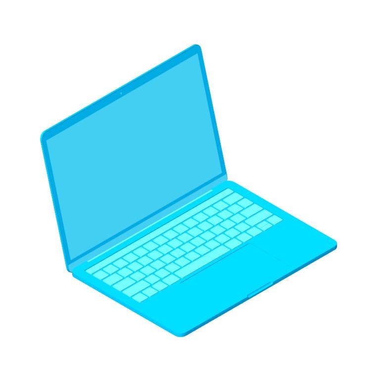 """3D model of the Apple MacBook Pro 13"""" (4th Gen) viewed in perspective"""