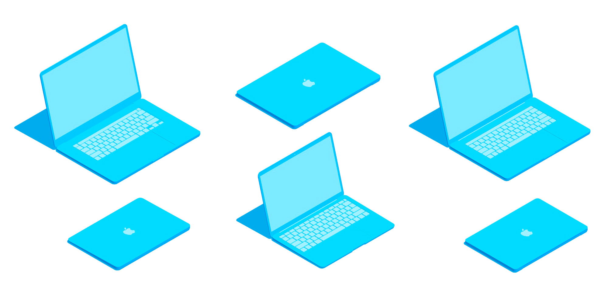 Group of 3D perspectives of various generations of Apple MacBooks including the MacBook Air and MacBook Pros