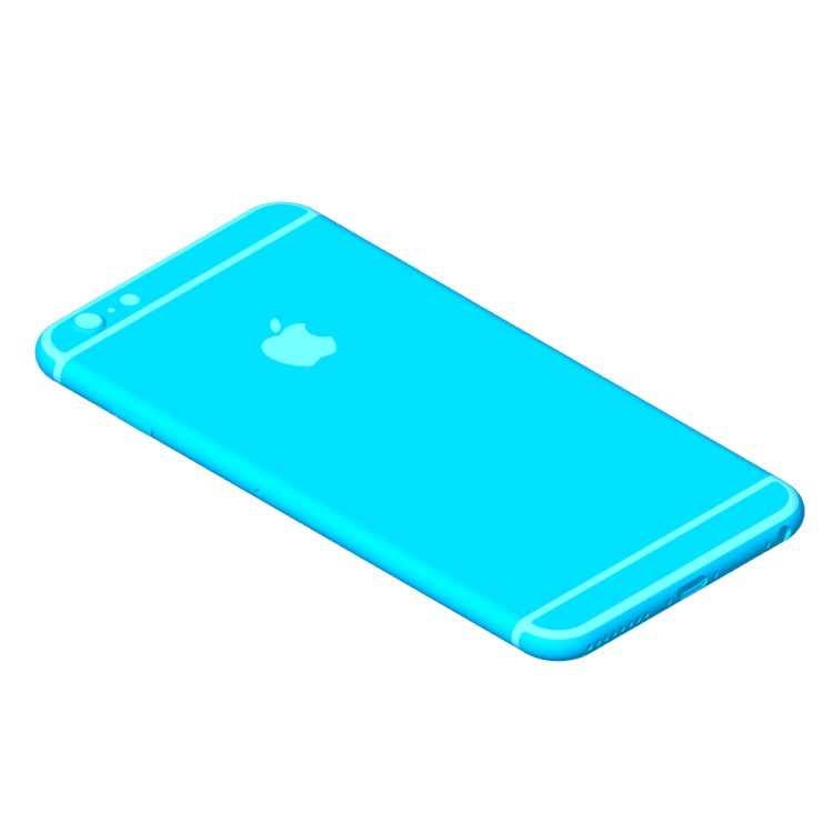 Perspective view of a 3D model of the Apple iPhone 6S Plus (9th Gen)
