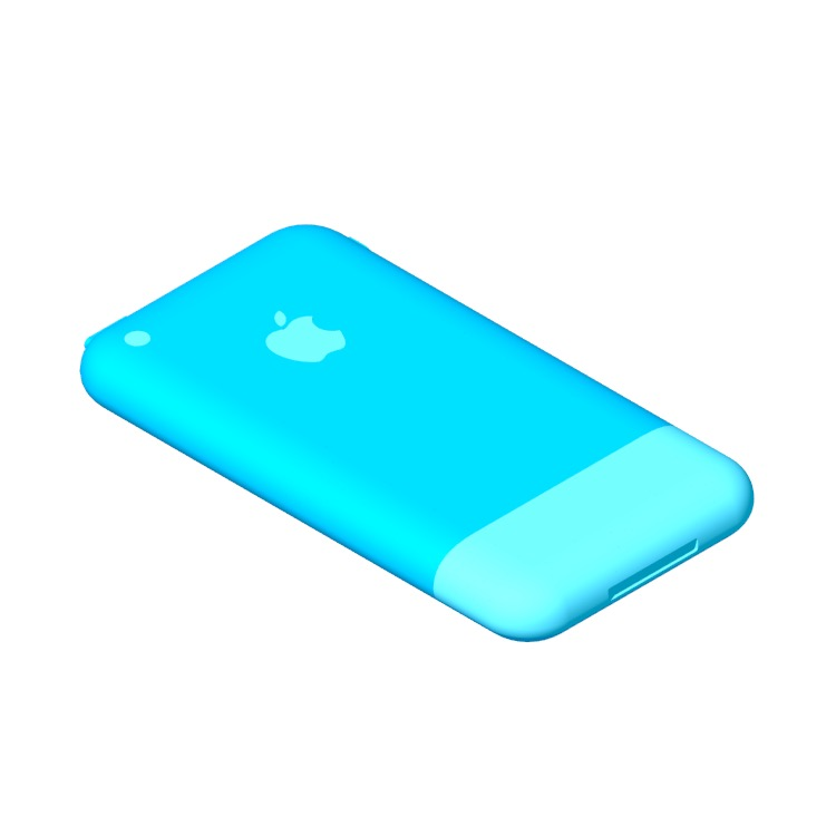 3D model of the Apple iPhone (1st Gen) viewed in perspective