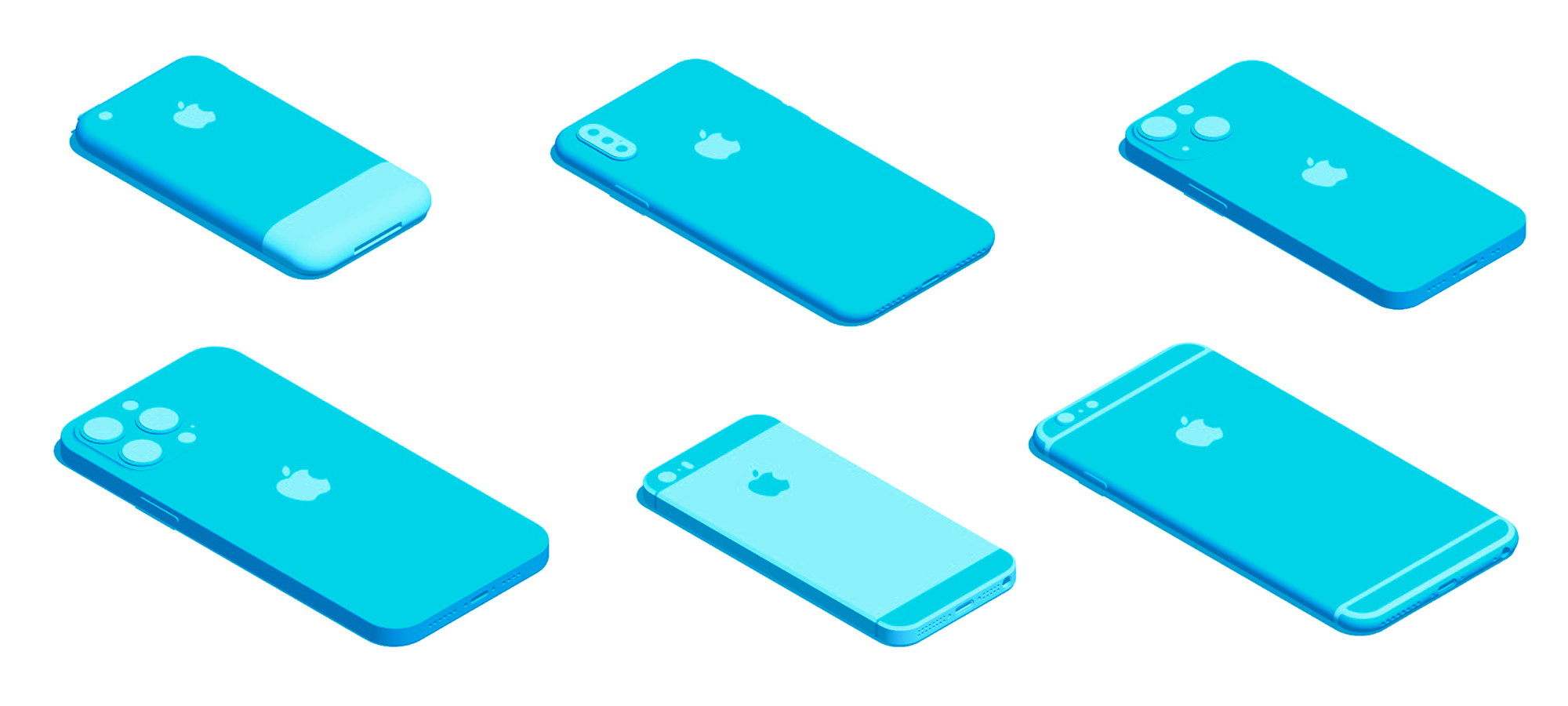 Collection of various Apple iPhone designs visualized in 3D