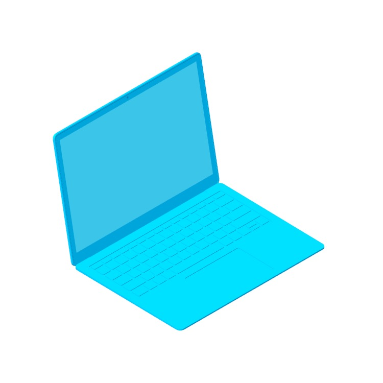 Perspective view of a 3D model of the Microsoft Surface Laptop 2