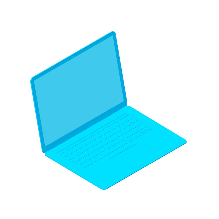 """3D model of the Microsoft Surface Laptop 3 (15"""") viewed in perspective"""