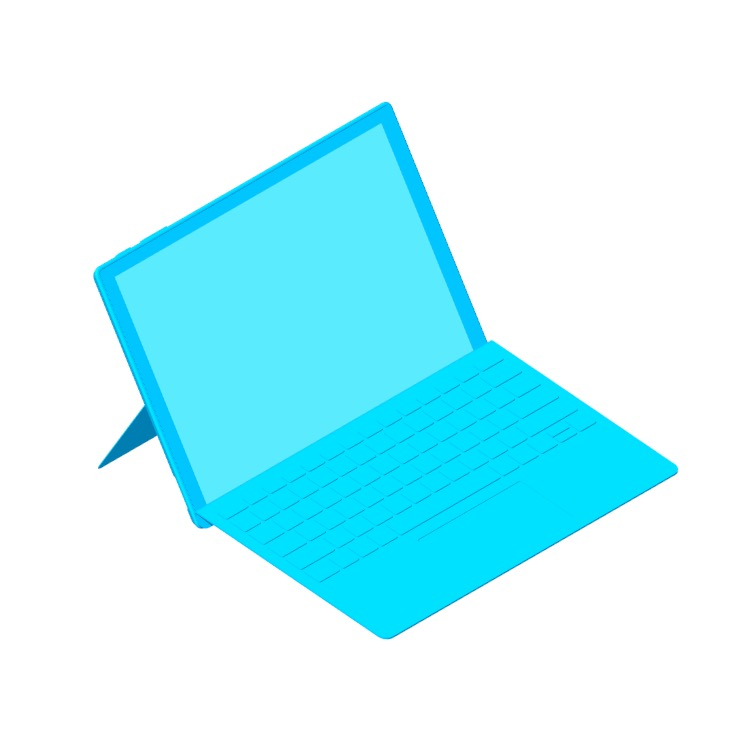 Perspective view of a 3D model of the Microsoft Surface Pro (5th Gen)