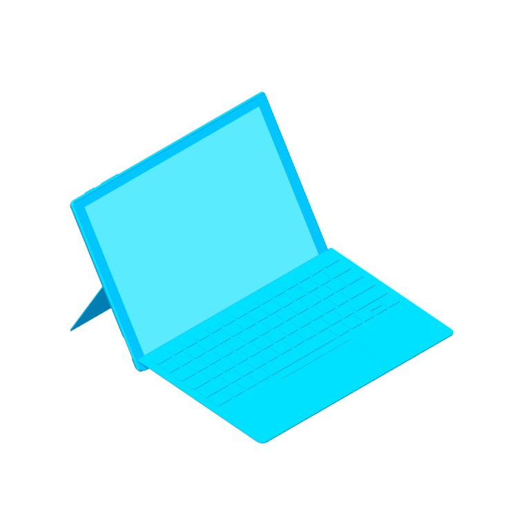 View of the Microsoft Surface Pro 6 in 3D available for download