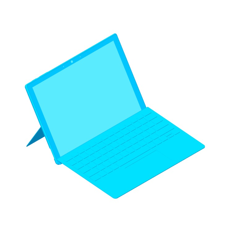 3D model of the Microsoft Surface Pro 7 viewed in perspective