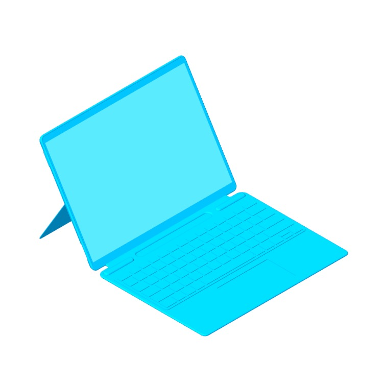 Perspective view of a 3D model of the Microsoft Surface Pro X