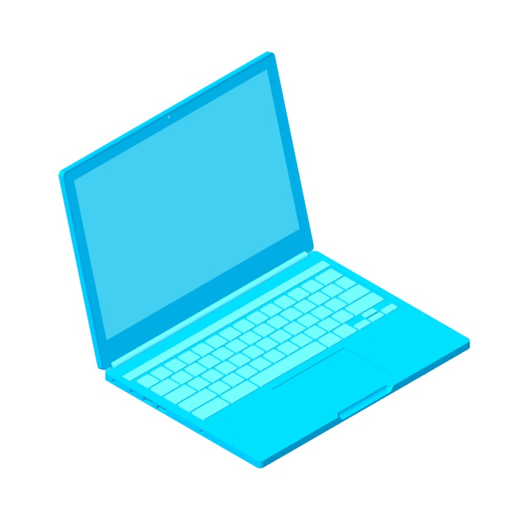 Perspective view of a 3D model of the Google Chromebook Pixel (2013)