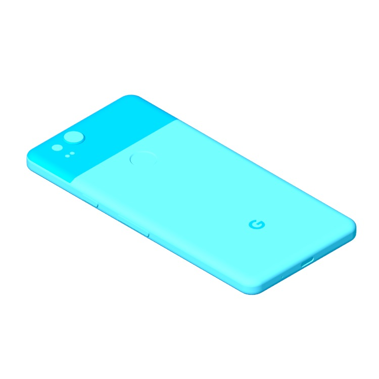 Perspective view of a 3D model of the Google Pixel 2 (2nd Gen)
