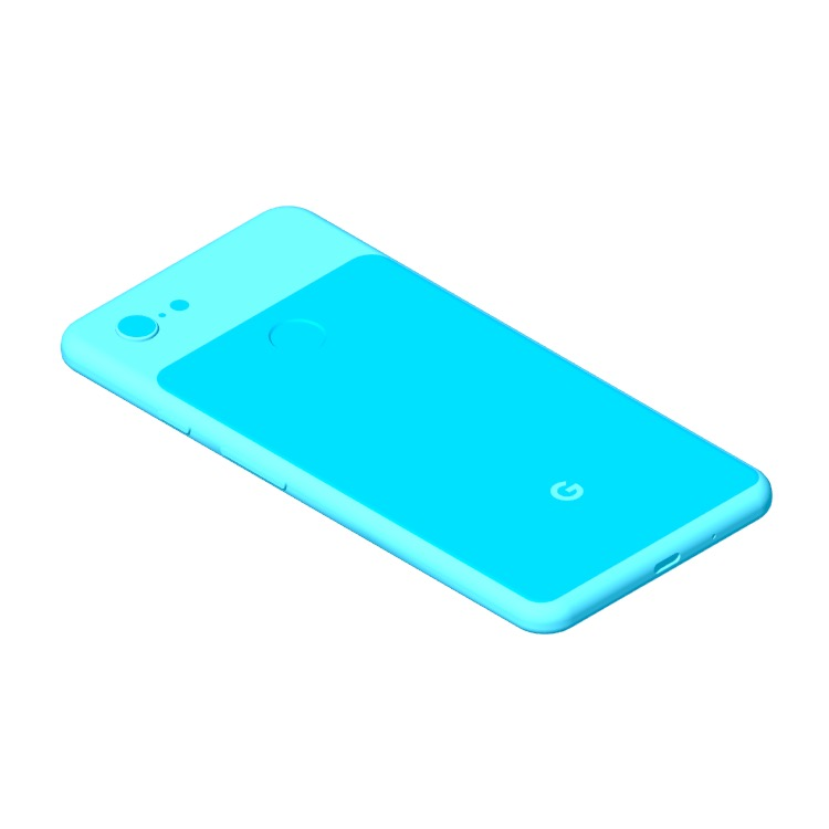 Perspective view of a 3D model of the Google Pixel 3 XL