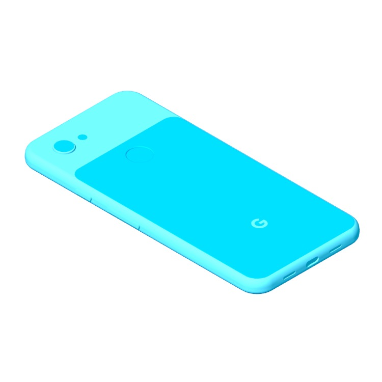 View of the Google Pixel 3A in 3D available for download