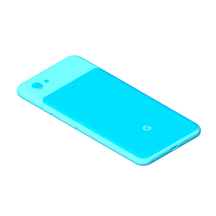 3D model of the Google Pixel 3A XL viewed in perspective