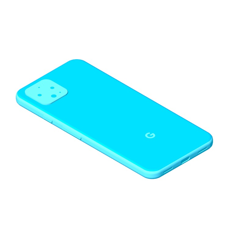 Perspective view of a 3D model of the Google Pixel 4